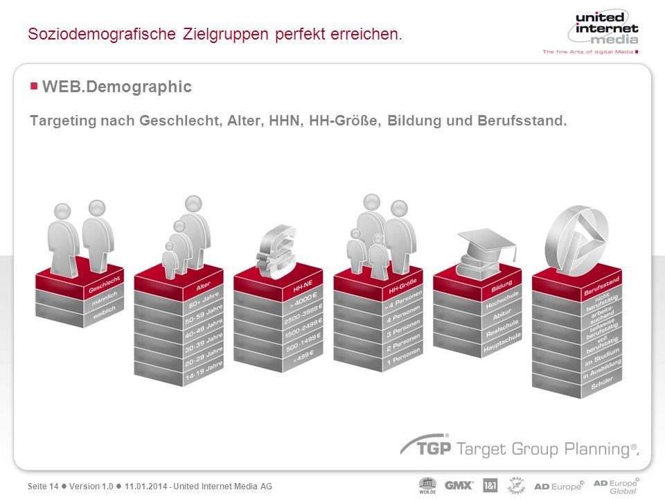 Seite 14 Version 1.0 11.01.2014 - United Internet Media AG Soziodemografische Zielgruppen perfekt erreichen. WEB.Demographic Targeting nach Geschlecht