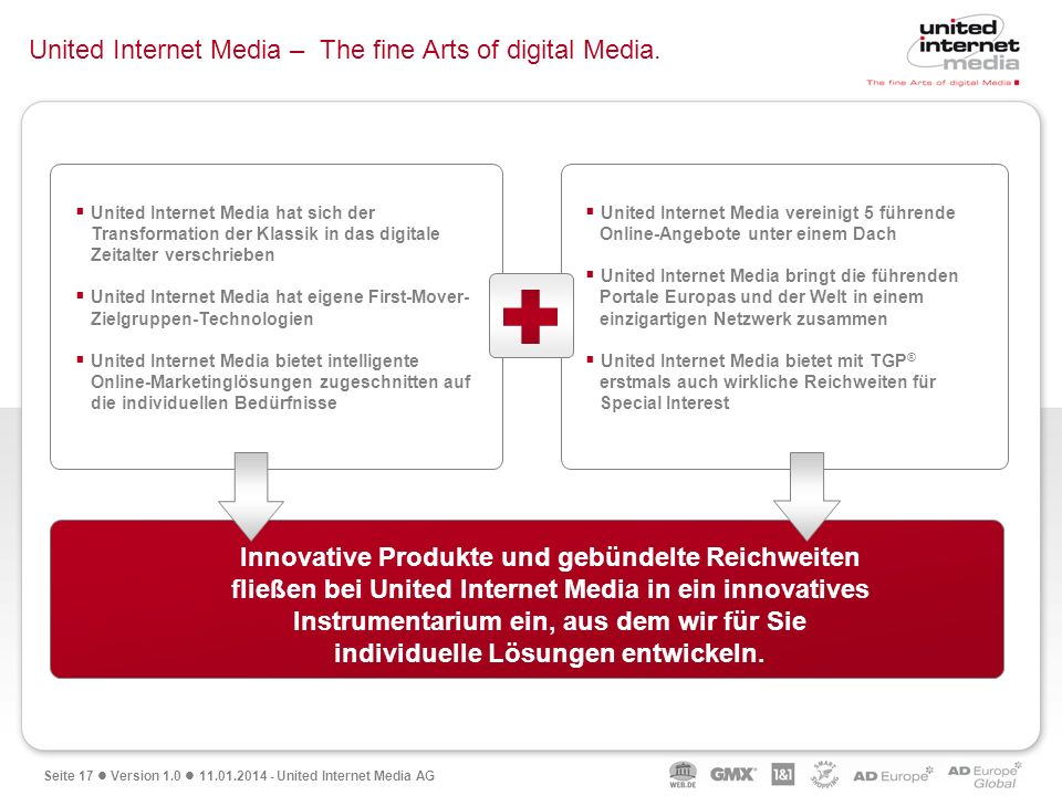 Seite 17 Version 1.0 11.01.2014 - United Internet Media AG United Internet Media – The fine Arts of digital Media. Diese einzigartige Fusion aus Quali