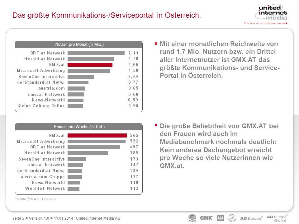 Seite 5 Version 1.0 11.01.2014 - United Internet Media AG Das größte Kommunikations-/Serviceportal in Österreich. Quelle: ÖWA Plus 2009-IV Mit einer m