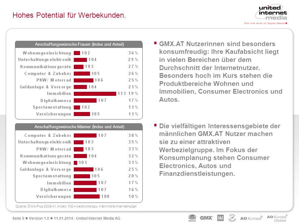 Seite 9 Version 1.0 11.01.2014 - United Internet Media AG Hohes Potential für Werbekunden. GMX.AT Nutzerinnen sind besonders konsumfreudig: Ihre Kaufa