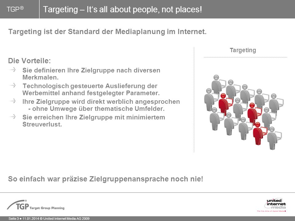 Seite 3 11.01.2014 © United Internet Media AG 2009 Targeting ist der Standard der Mediaplanung im Internet.