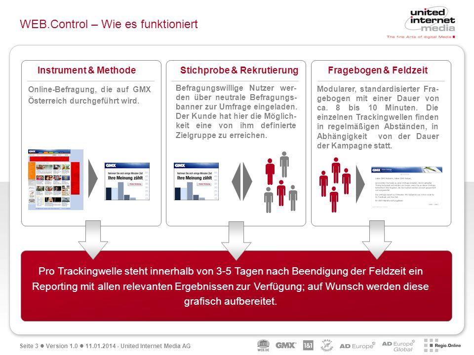 Seite 3 Version 1.0 11.01.2014 - United Internet Media AG WEB.Control – Wie es funktioniert Die Aufbereitung der Ergebnisse erfolgt in Form einer Powe