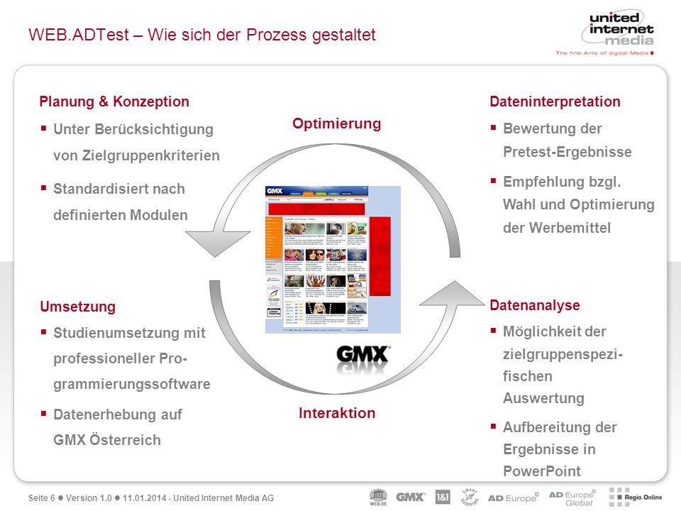 Seite 6 Version 1.0 11.01.2014 - United Internet Media AG WEB.ADTest – Wie sich der Prozess gestaltet Optimierung Interaktion Planung & Konzeption Unt