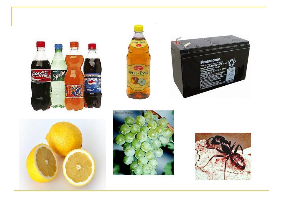 SäureVorkommen / Verwendung Anmerkung Salzsäure HCl Zu 0,3% im Magensaft, um Bakterienwachs- tum zu hemmen.