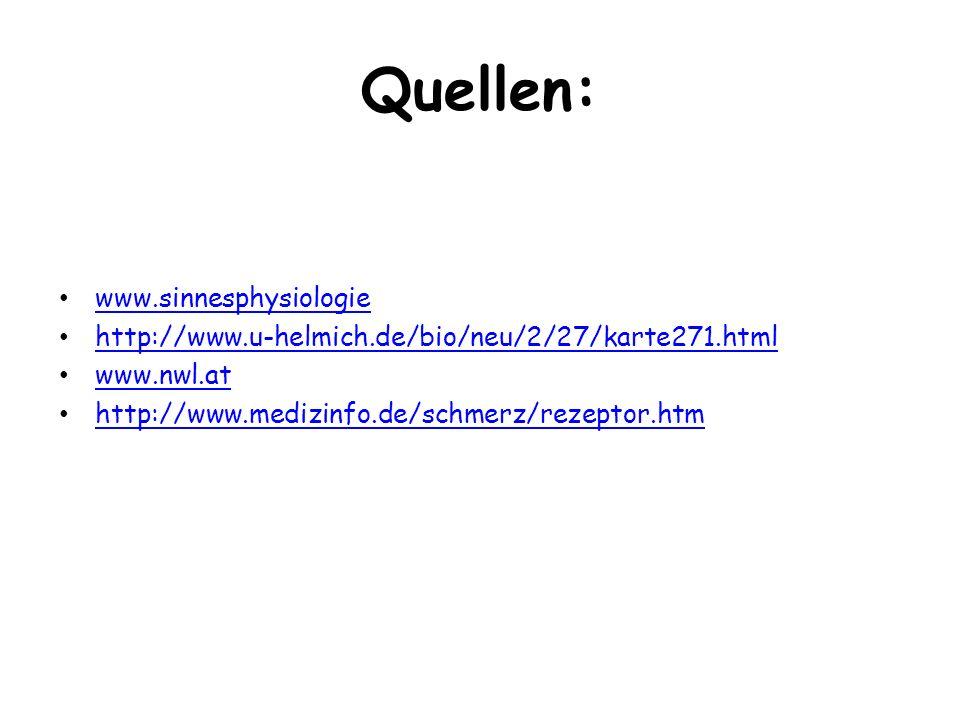 Quellen: www.sinnesphysiologie http://www.u-helmich.de/bio/neu/2/27/karte271.html www.nwl.at http://www.medizinfo.de/schmerz/rezeptor.htm