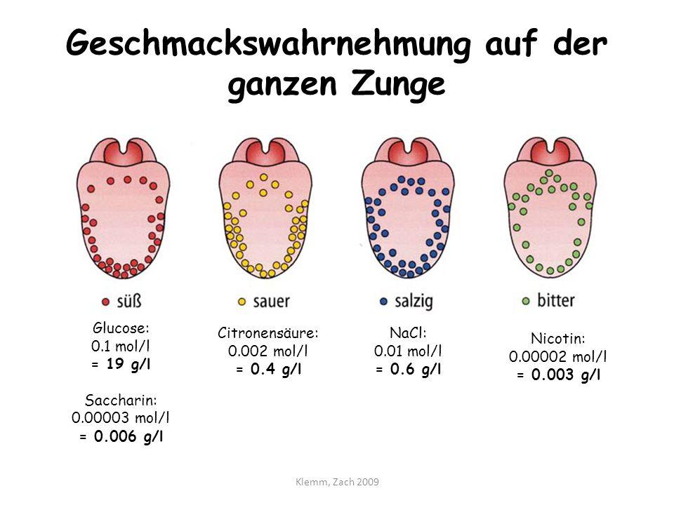 Geschmackswahrnehmung auf der ganzen Zunge Glucose: 0.1 mol/l = 19 g/l Saccharin: 0.00003 mol/l = 0.006 g/l Citronensäure: 0.002 mol/l = 0.4 g/l NaCl: