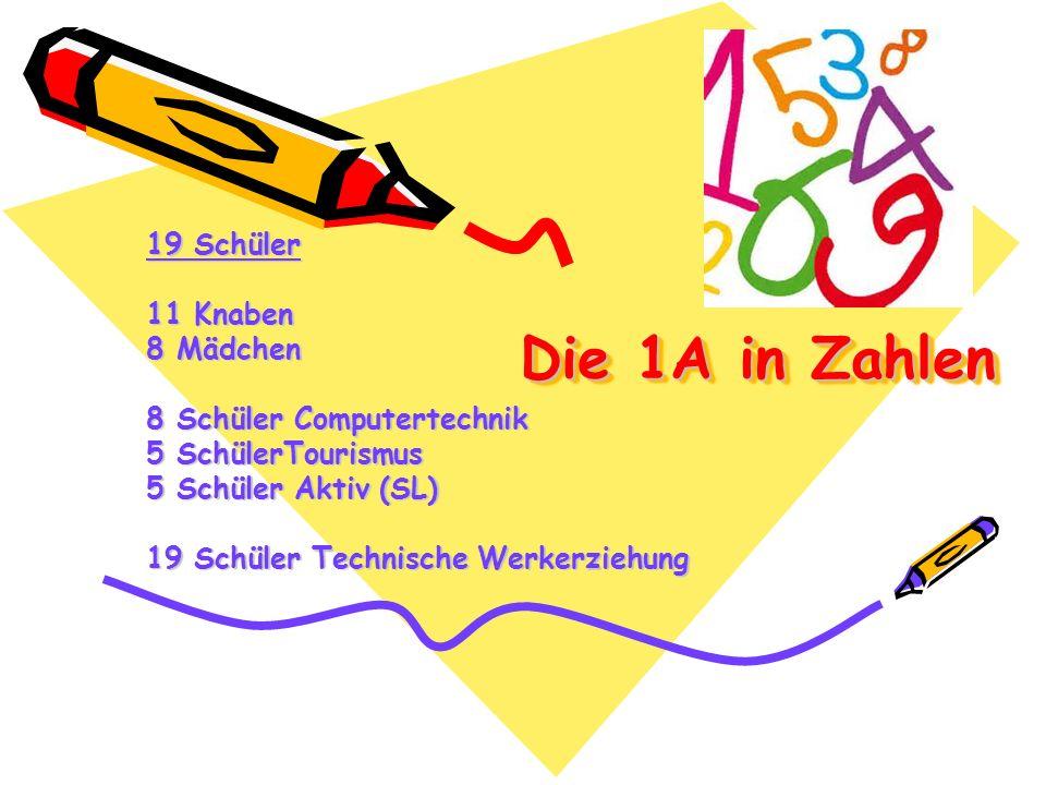 Die 1A in Zahlen 19 Schüler 11 Knaben 8 Mädchen 8 Schüler Computertechnik 5 SchülerTourismus 5 Schüler Aktiv (SL) 19 Schüler Technische Werkerziehung