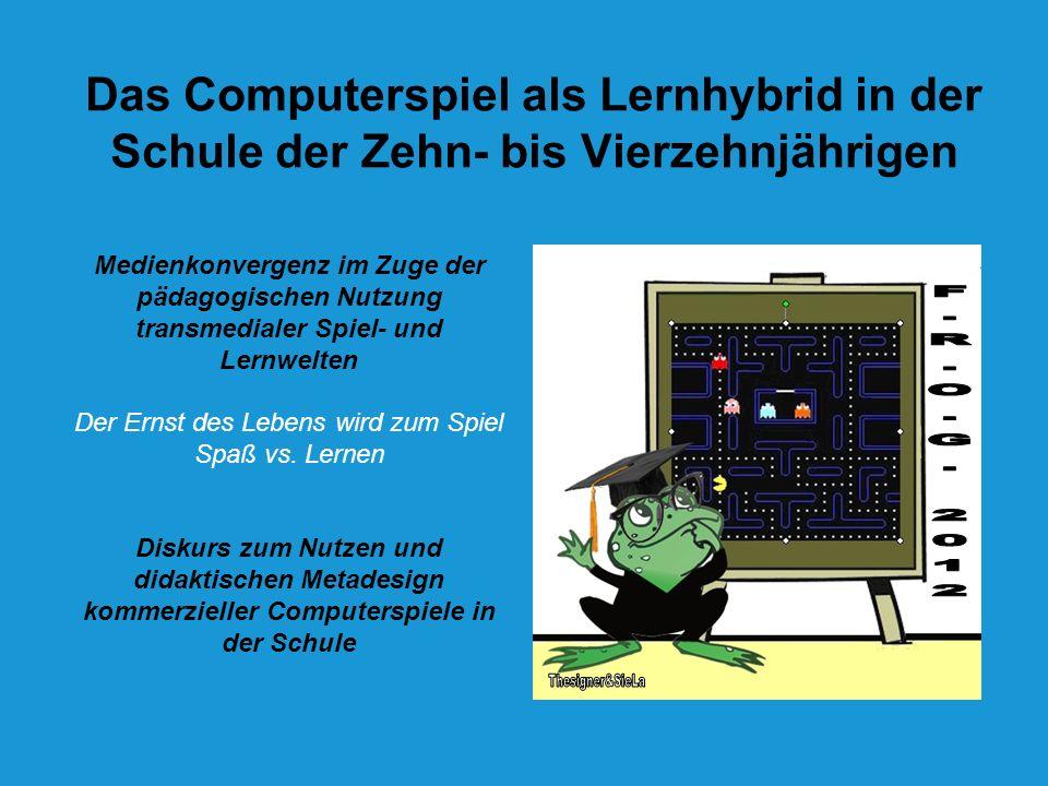 LEVEL UP statt GAME OVER Kommerzielle Computerspiele werden (top down) hybridisiert (= für den Unterricht adaptiert) Pädagogisierung von Computerspielen (ein Hinzufügen schulischer Aufgabenstellungen als didaktisches Metadesign) Ziel: Der Brückenschlag zwischen Spaß und Lernen