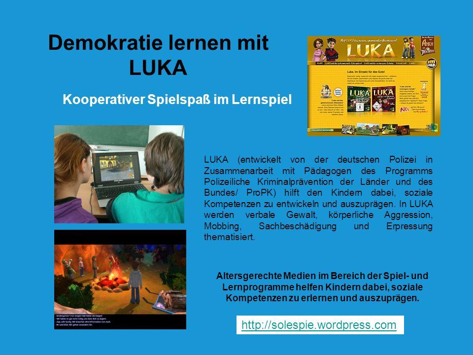 Kooperativer Spielspaß im Lernspiel Demokratie lernen mit LUKA LUKA (entwickelt von der deutschen Polizei in Zusammenarbeit mit Pädagogen des Programm