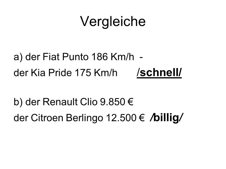 Vergleiche a) der Fiat Punto 186 Km/h - der Kia Pride 175 Km/h /schnell/ b) der Renault Clio 9.850 der Citroen Berlingo 12.500 /billig/