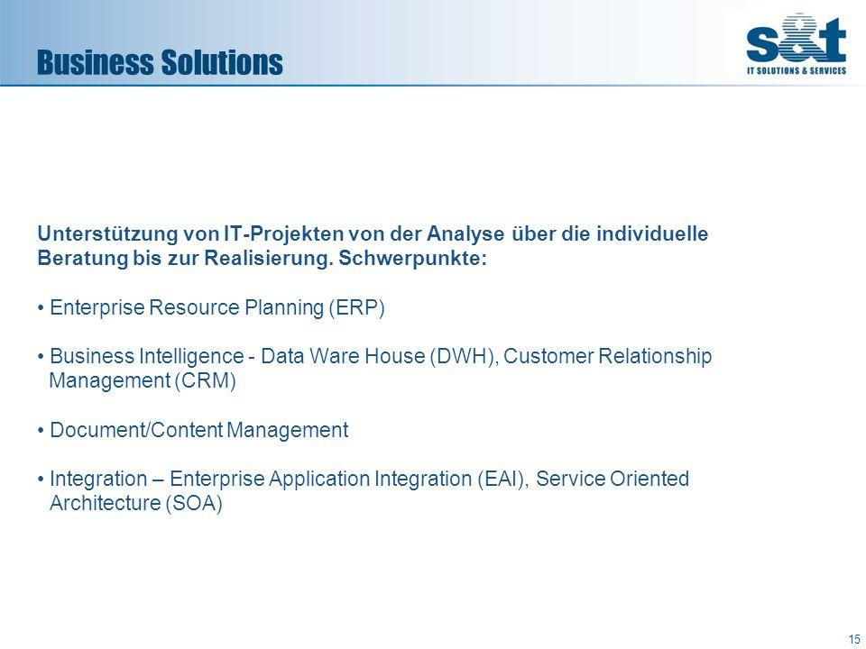 Unterstützung von IT-Projekten von der Analyse über die individuelle Beratung bis zur Realisierung. Schwerpunkte: Enterprise Resource Planning (ERP) B
