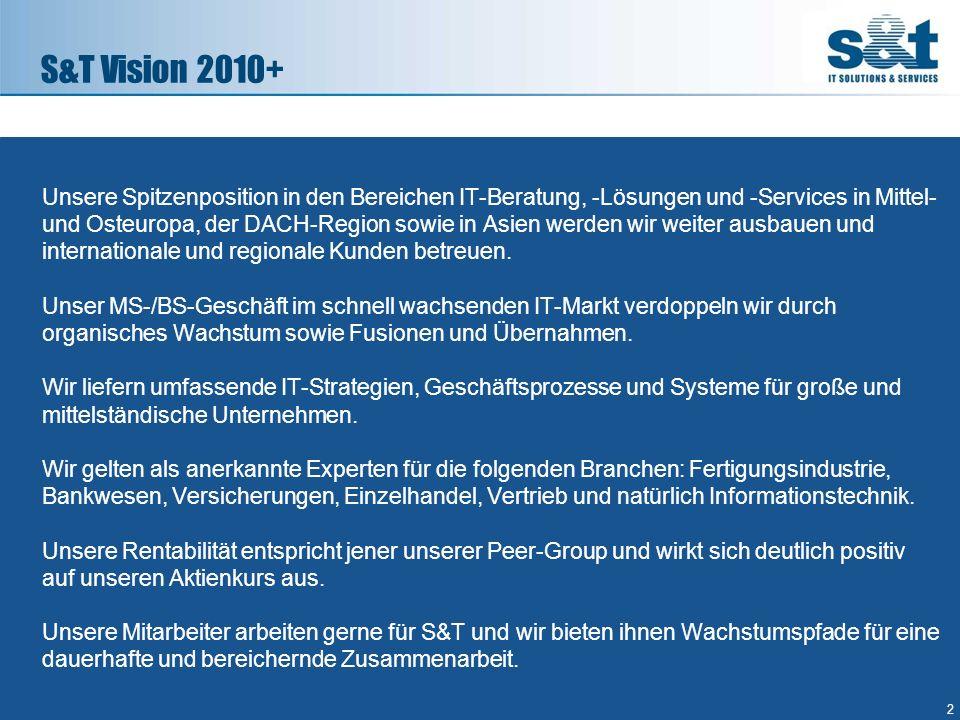 S&T Vision 2010+ 2 Unsere Spitzenposition in den Bereichen IT-Beratung, -Lösungen und -Services in Mittel- und Osteuropa, der DACH-Region sowie in Asi
