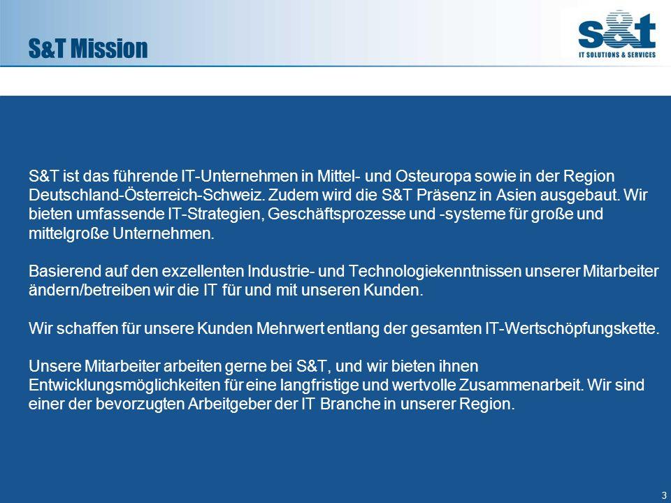 S&T ist das führende IT-Unternehmen in Mittel- und Osteuropa sowie in der Region Deutschland-Österreich-Schweiz. Zudem wird die S&T Präsenz in Asien a