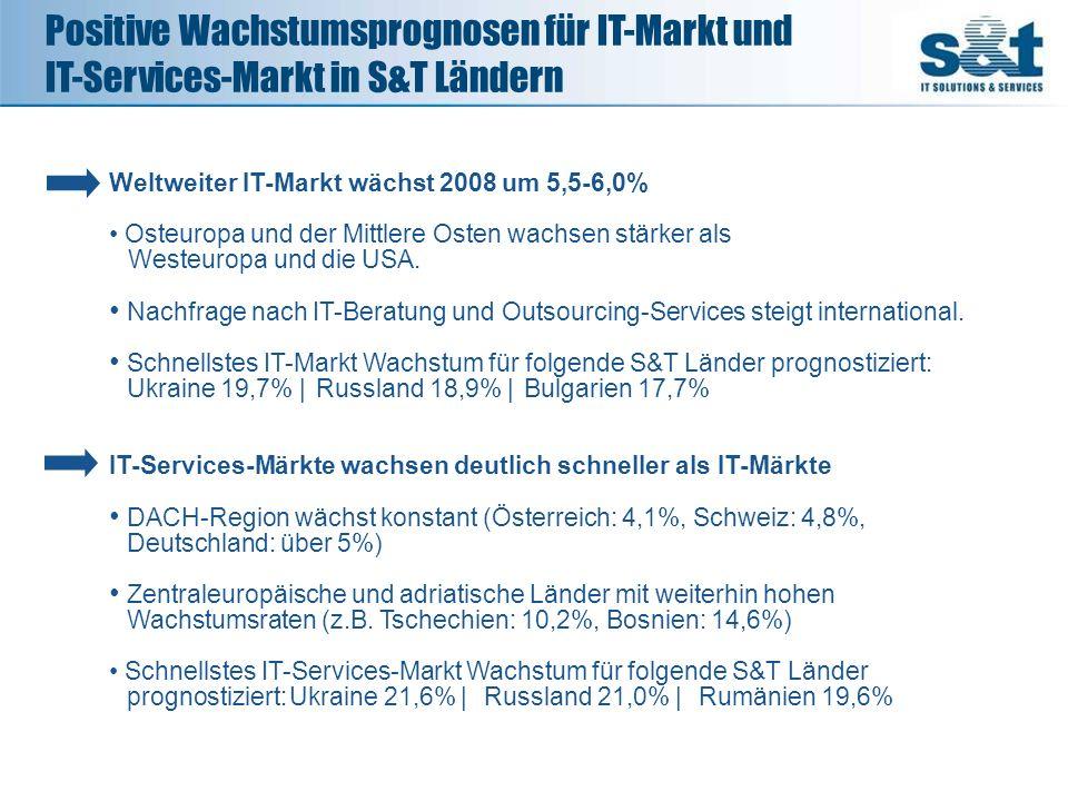 Positive Wachstumsprognosen für IT-Markt und IT-Services-Markt in S&T Ländern Weltweiter IT-Markt wächst 2008 um 5,5-6,0% Osteuropa und der Mittlere O