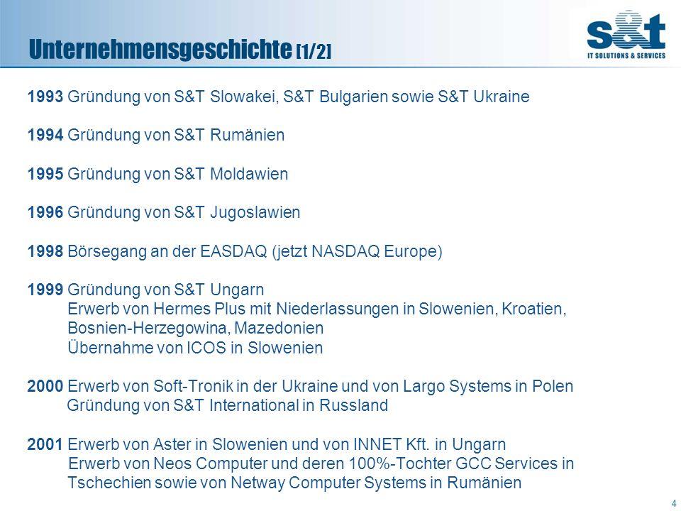 1993 Gründung von S&T Slowakei, S&T Bulgarien sowie S&T Ukraine 1994 Gründung von S&T Rumänien 1995 Gründung von S&T Moldawien 1996 Gründung von S&T J