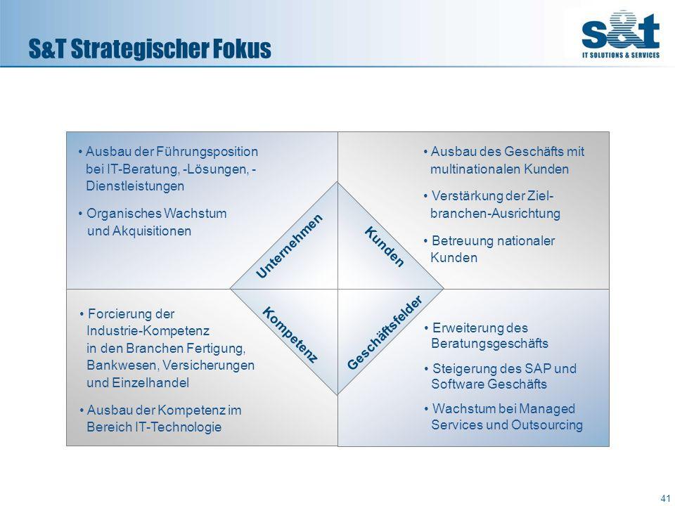 S&T Strategischer Fokus 41 Unternehmen Kunden Geschäftsfelder Kompetenz Ausbau der Führungsposition bei IT-Beratung, -Lösungen, - Dienstleistungen Org