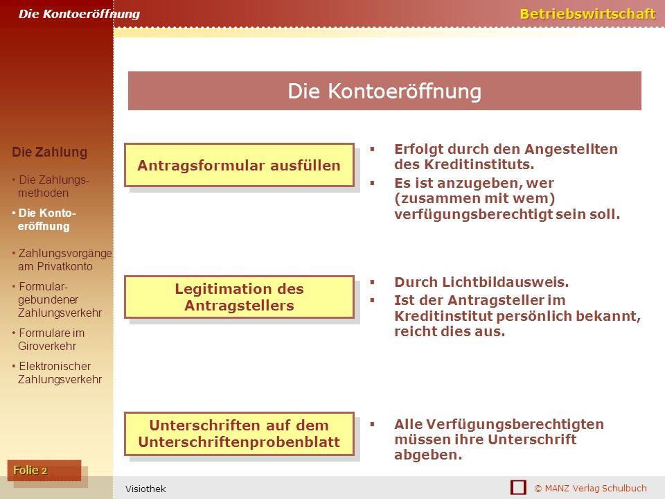 © MANZ Verlag Schulbuch Betriebswirtschaft Folie 2 Visiothek Legitimation des Antragstellers Durch Lichtbildausweis. Ist der Antragsteller im Kreditin