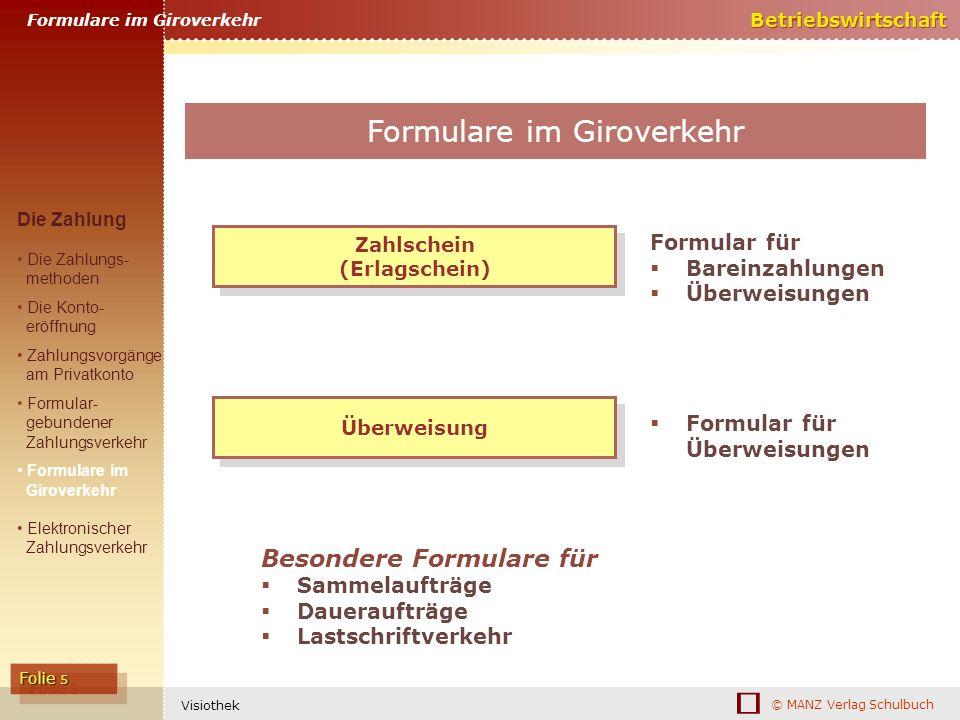 © MANZ Verlag Schulbuch Betriebswirtschaft Folie 5 Visiothek Zahlschein (Erlagschein) Zahlschein (Erlagschein) Formular für Bareinzahlungen Überweisun