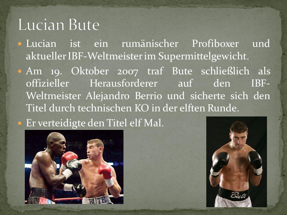 Lucian ist ein rumänischer Profiboxer und aktueller IBF-Weltmeister im Supermittelgewicht.