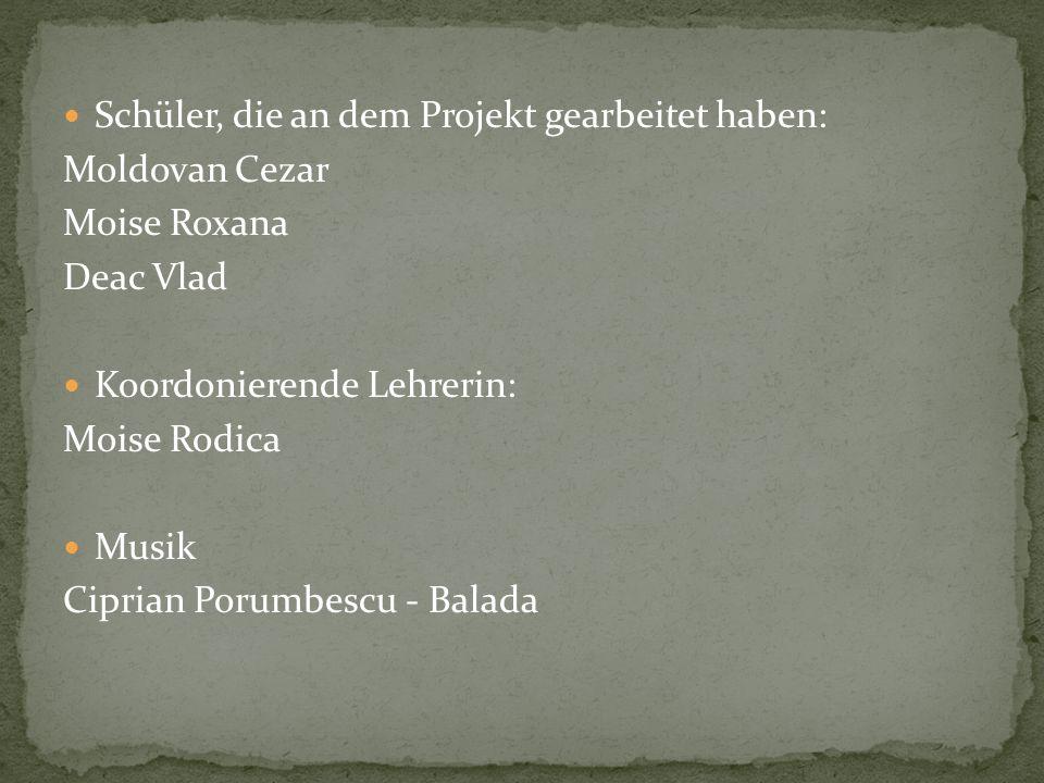 Schüler, die an dem Projekt gearbeitet haben: Moldovan Cezar Moise Roxana Deac Vlad Koordonierende Lehrerin: Moise Rodica Musik Ciprian Porumbescu - Balada
