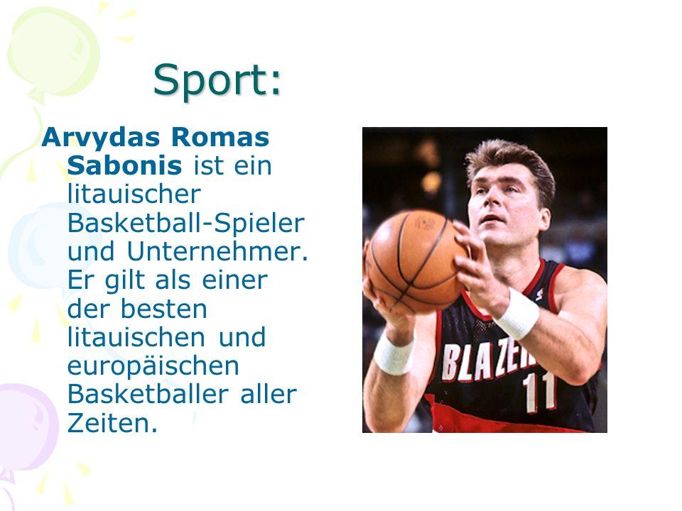 Sport: Arvydas Romas Sabonis ist ein litauischer Basketball-Spieler und Unternehmer. Er gilt als einer der besten litauischen und europäischen Basketb