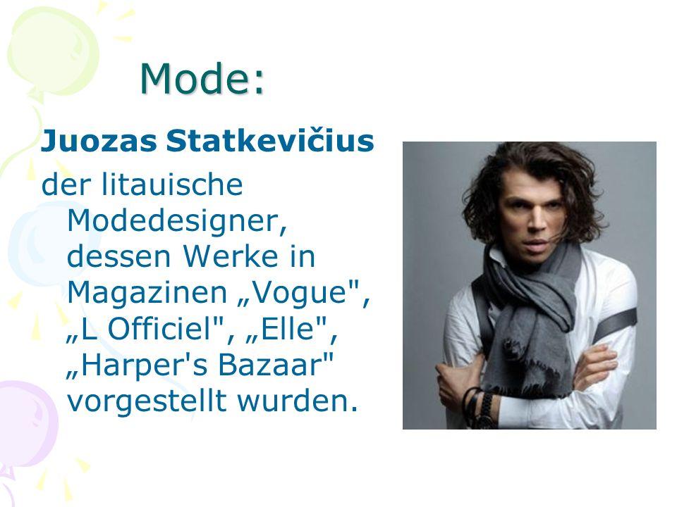 Mode: Juozas Statkevičius der litauische Modedesigner, dessen Werke in Magazinen Vogue