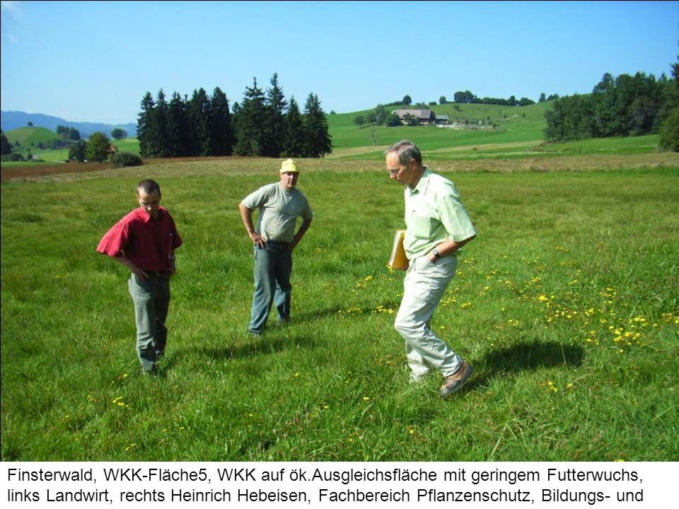 Finsterwald, WKK-Fläche5, WKK auf ök.Ausgleichsfläche mit geringem Futterwuchs, links Landwirt, rechts Heinrich Hebeisen, Fachbereich Pflanzenschutz,