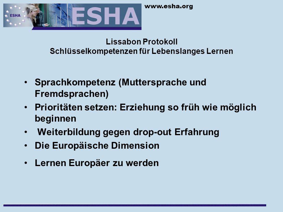 www.esha.org Lissabon Protokoll Schlüsselkompetenzen für Lebenslanges Lernen Sprachkompetenz (Muttersprache und Fremdsprachen) Prioritäten setzen: Erziehung so früh wie möglich beginnen Weiterbildung gegen drop-out Erfahrung Die Europäische Dimension Lernen Europäer zu werden