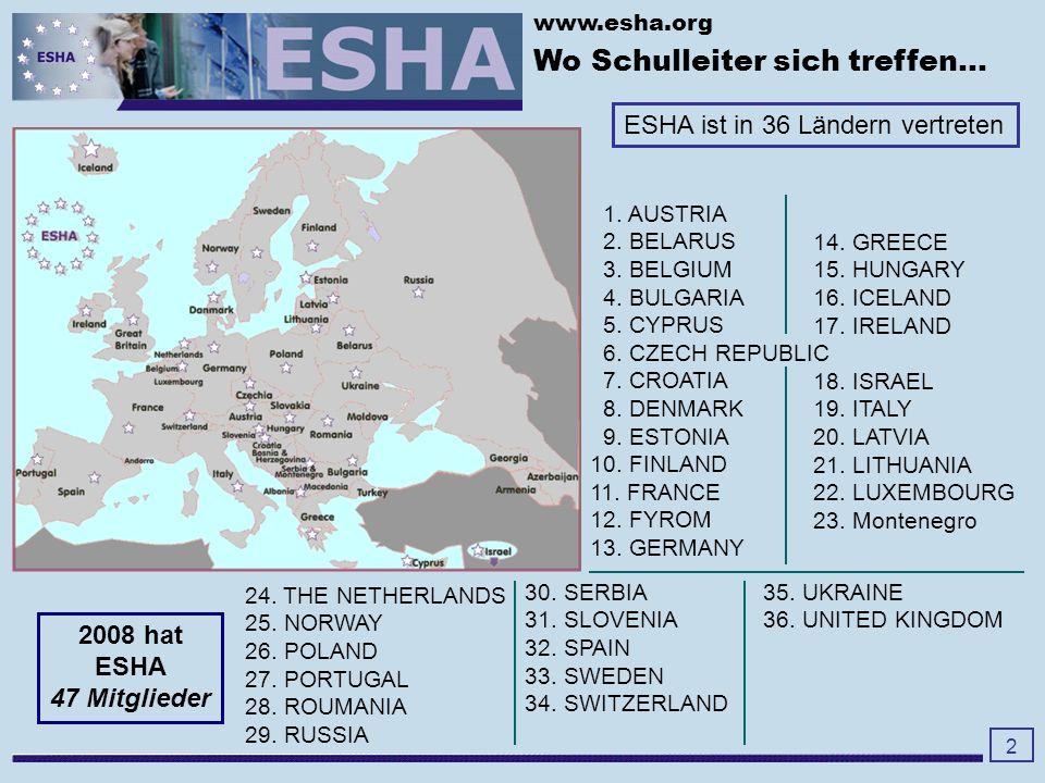 www.esha.org ESHA Regionen -Baltikum und Osteuropa -Balkan Region -deutschsprachige Region -englischsprachige Region -französischsprachige Region - Skandinavien -russischsprachige Region - Südeuropa