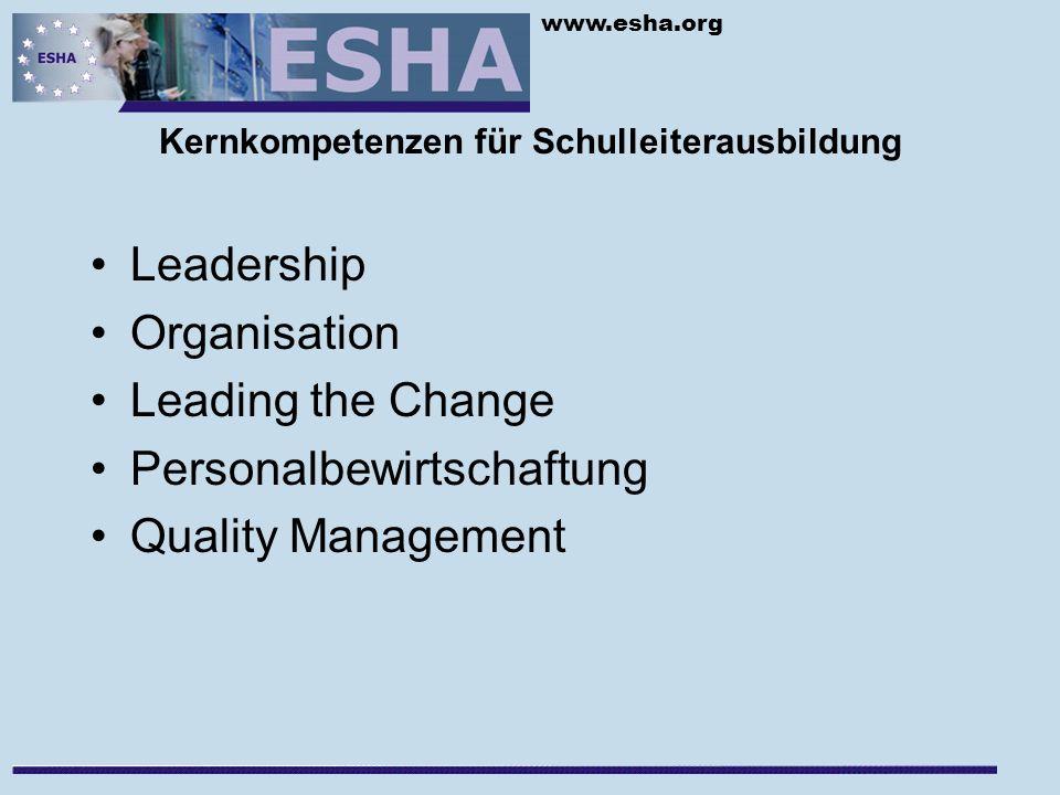 www.esha.org Kernkompetenzen für Schulleiterausbildung Leadership Organisation Leading the Change Personalbewirtschaftung Quality Management