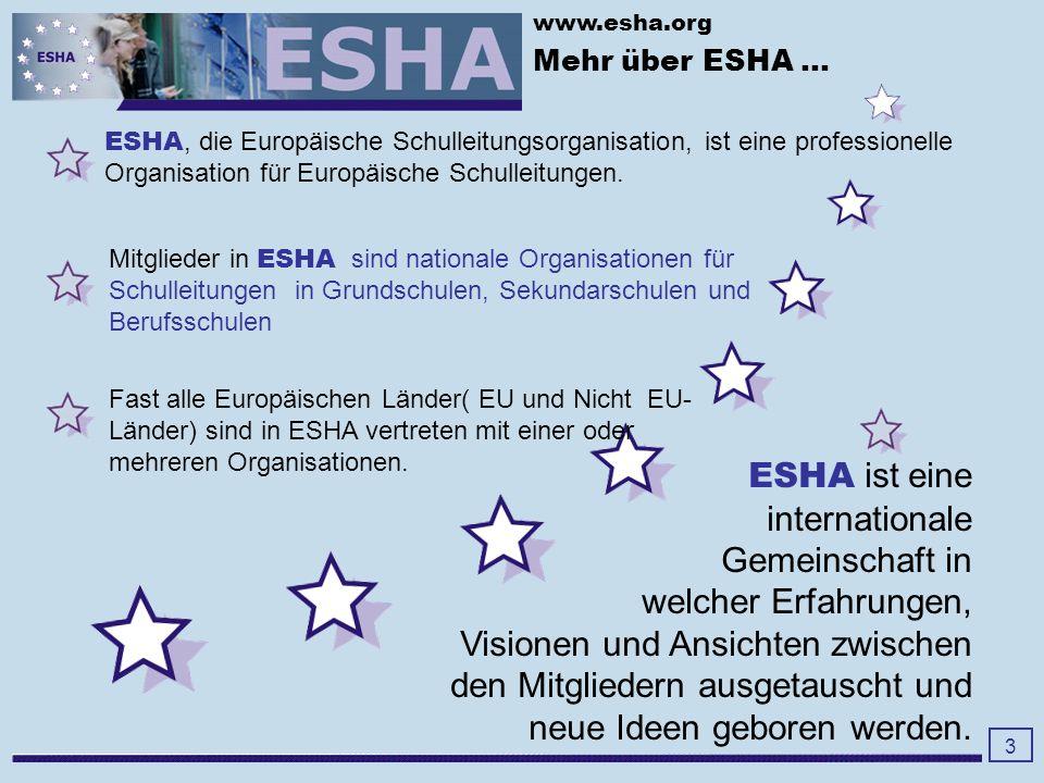 www.esha.org Die Hauptarbeitsfelder und Themen in unseren Schulen in Europa Autonomy - Autonomie Achievement - Ergebnis- Orientierung Accountability - Rechenschaft Leadership - Schulführung Mobility - Mobilität