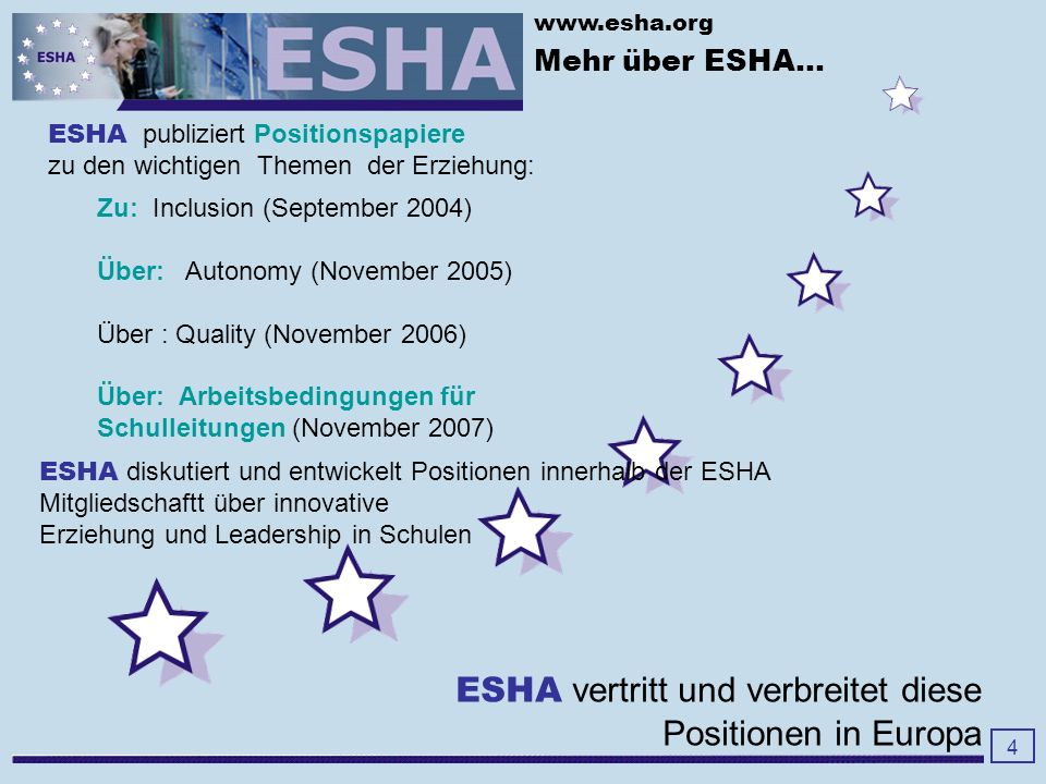 www.esha.org 5 Internationale Konferenzen...