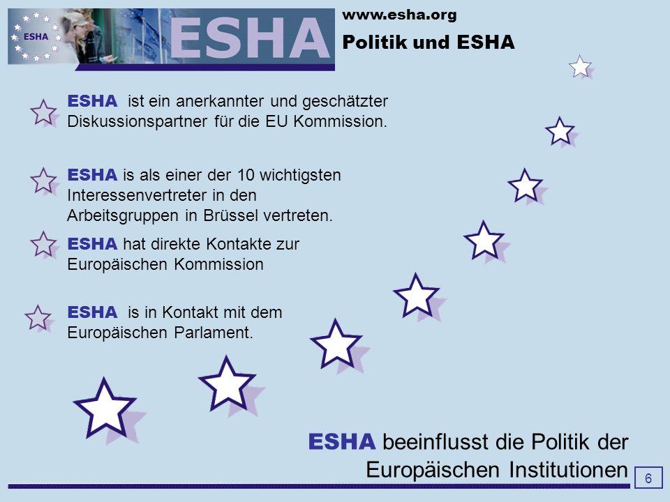 www.esha.org Politik und ESHA 6 ESHA ist ein anerkannter und geschätzter Diskussionspartner für die EU Kommission.