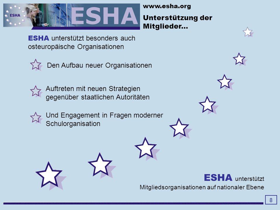 www.esha.org verbessert Leitungsqualität durch 9 Datenbank mit Artikeln, Konferenzen und weiteren relevanten Informationen Europaweiter Ideenaustausch zwischen Schulleitungen School Managers Center (SMC) European School Leadership Network (ESLN) Spezielle online-Kurse Online- Diskussionen Internationale workshops (face to face) jährlich ESHA fördert aktiv die Qualität von Schulführung.