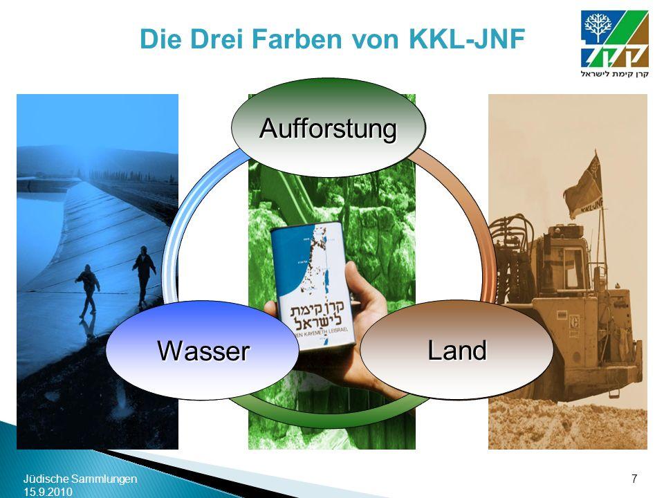 Jüdische Sammlungen 15.9.2010 7 Die Drei Farben von KKL-JNF Land Aufforstung Wasser