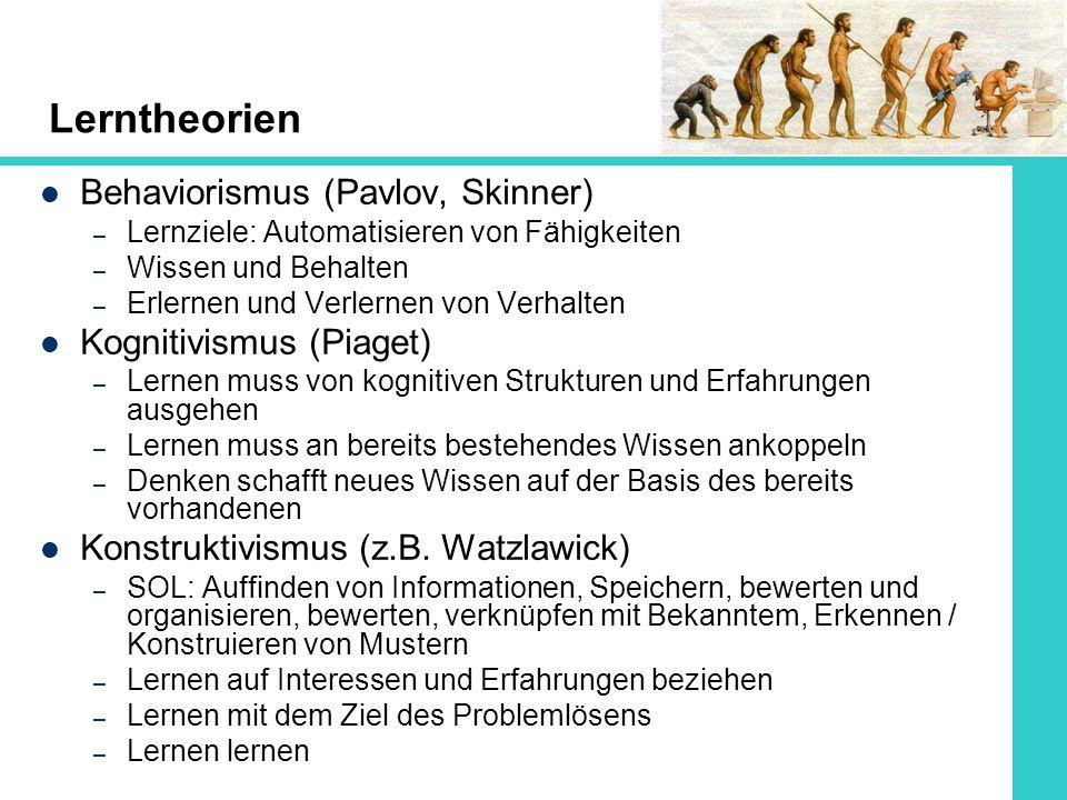 Lerntheorien Behaviorismus (Pavlov, Skinner) – Lernziele: Automatisieren von Fähigkeiten – Wissen und Behalten – Erlernen und Verlernen von Verhalten