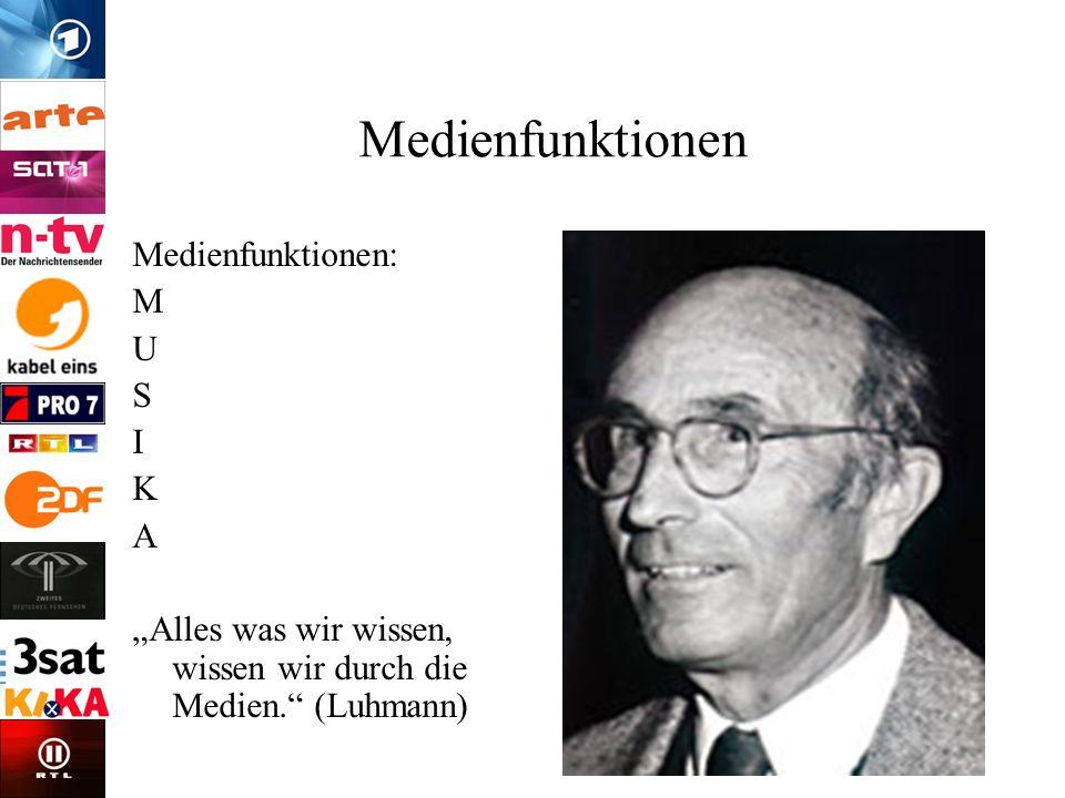 Medienfunktionen Medienfunktionen: M U S I K A Alles was wir wissen, wissen wir durch die Medien. (Luhmann)