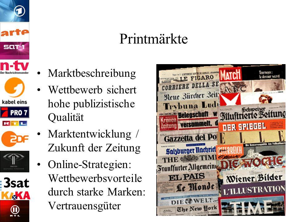 Printmärkte Marktbeschreibung Wettbewerb sichert hohe publizistische Qualität Marktentwicklung / Zukunft der Zeitung Online-Strategien: Wettbewerbsvor