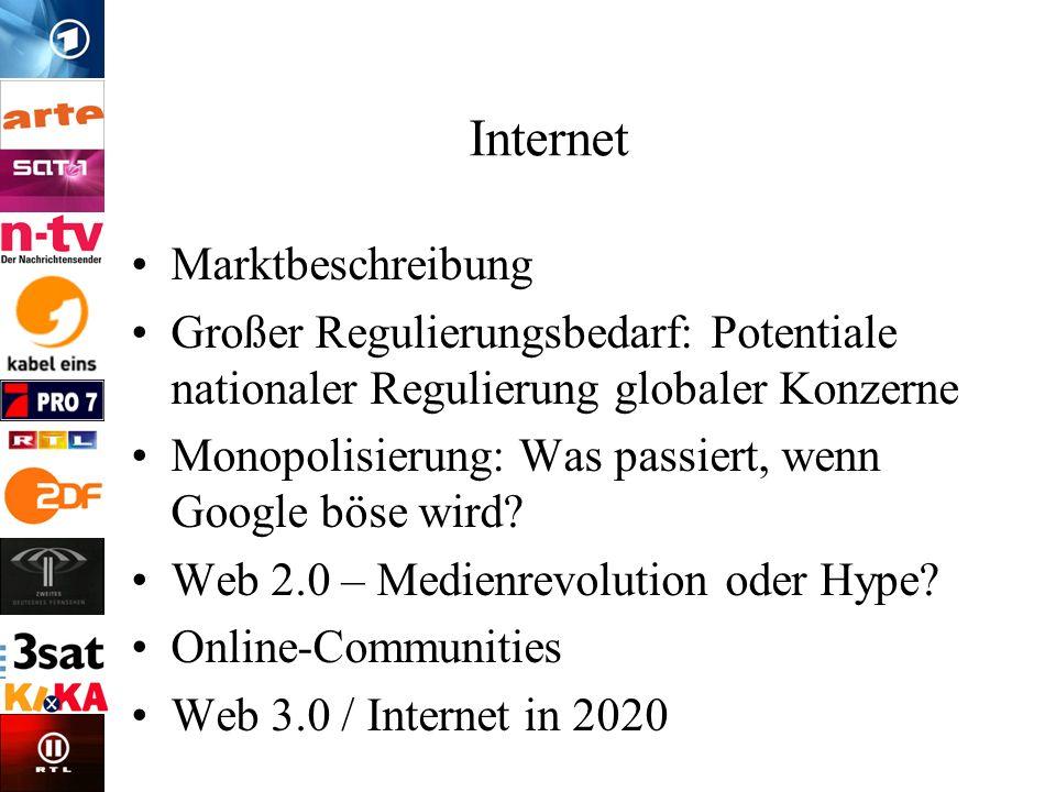 Internet Marktbeschreibung Großer Regulierungsbedarf: Potentiale nationaler Regulierung globaler Konzerne Monopolisierung: Was passiert, wenn Google b