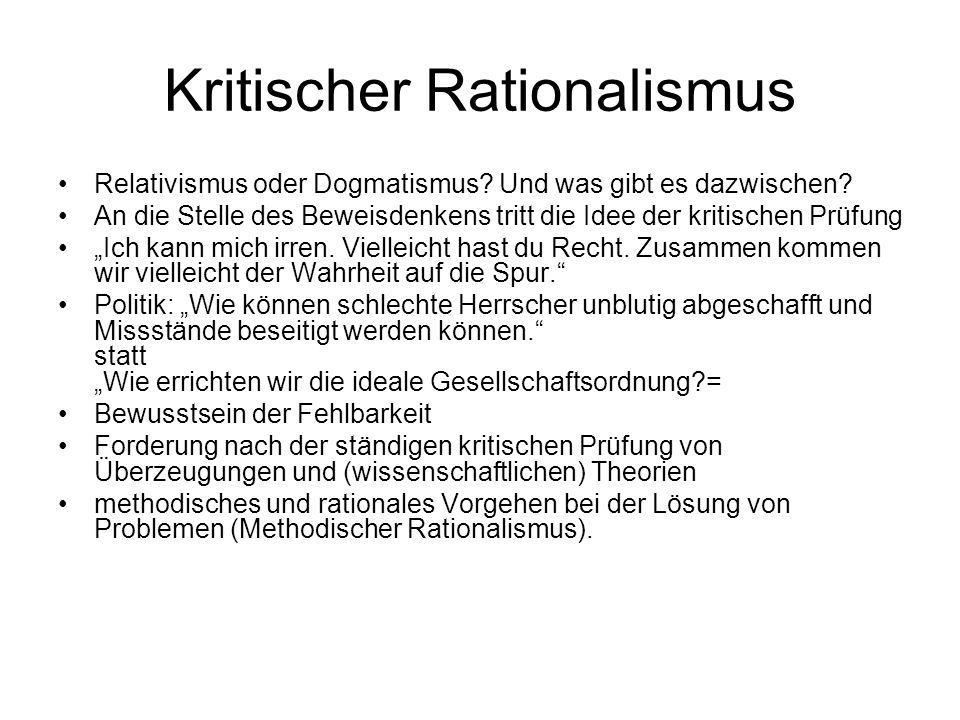Kritischer Rationalismus Relativismus oder Dogmatismus.