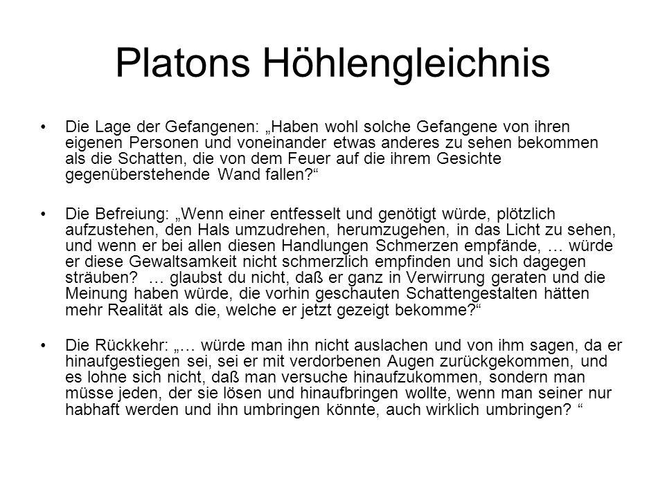 Platons Höhlengleichnis: Das Zwei-Welten-Problem Die Lage der Gefangenen: Die Sinne zeigen Täuschungen, nicht das Eigentliche.