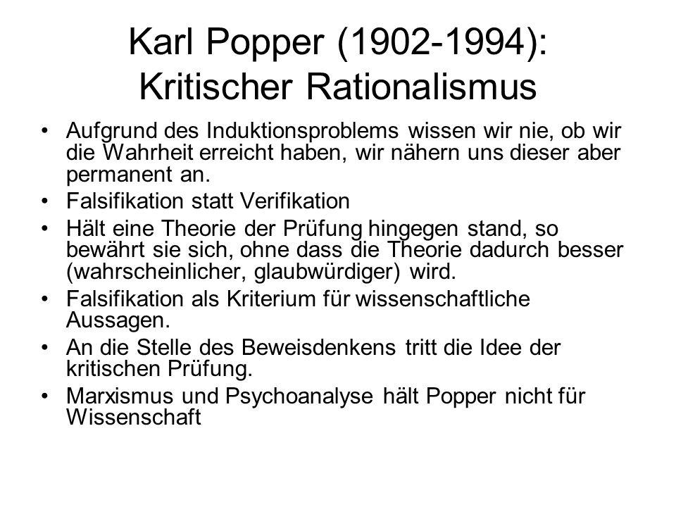 Karl Popper (1902-1994): Kritischer Rationalismus Aufgrund des Induktionsproblems wissen wir nie, ob wir die Wahrheit erreicht haben, wir nähern uns dieser aber permanent an.