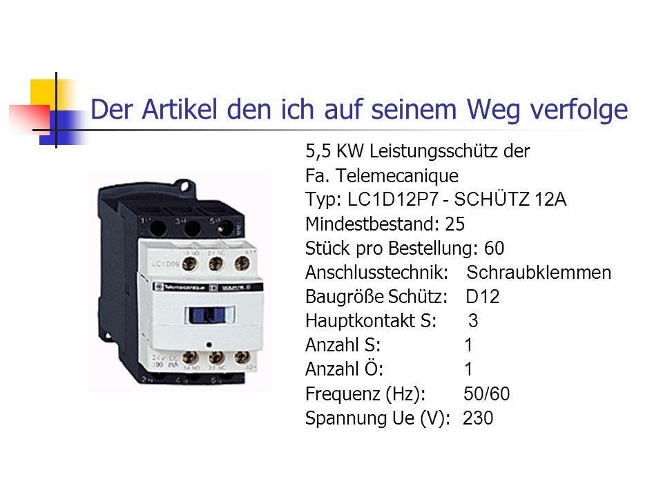 Der Artikel den ich auf seinem Weg verfolge 5,5 KW Leistungsschütz der Fa. Telemecanique Typ: LC1D12P7 - SCHÜTZ 12A Mindestbestand: 25 Stück pro Beste