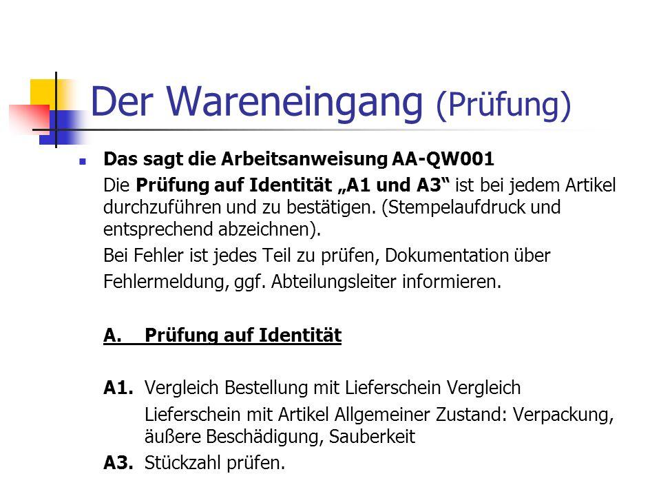Der Wareneingang (Prüfung) Das sagt die Arbeitsanweisung AA-QW001 Die Prüfung auf Identität A1 und A3 ist bei jedem Artikel durchzuführen und zu bestä