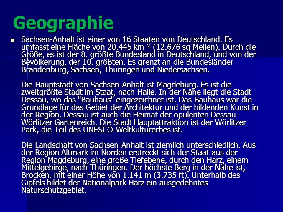 Geographie Sachsen-Anhalt ist einer von 16 Staaten von Deutschland. Es umfasst eine Fläche von 20.445 km ² (12.676 sq Meilen). Durch die Größe, es ist