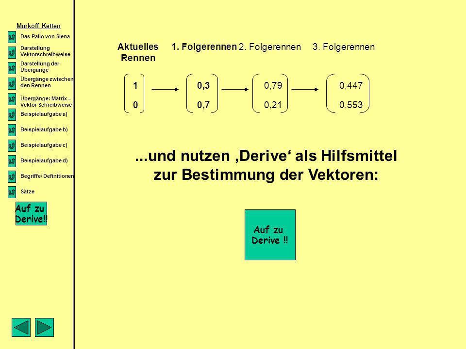 qnqn qnqn Notiert man sich hierzu die eingangs erwähnten Matrix- und Vektorschreibweisen unseres Problems: Übergangs- matrix Vertei- lungs- vektor pnp