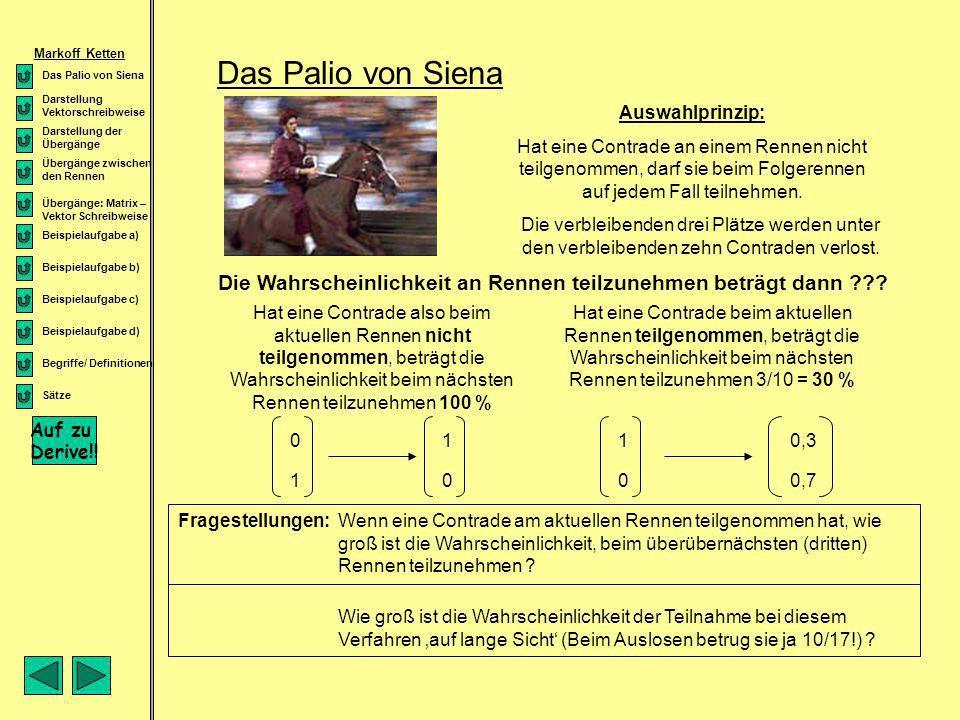 Das Palio von Siena Auswahlprinzip: Hat eine Contrade an einem Rennen nicht teilgenommen, darf sie beim Folgerennen auf jedem Fall teilnehmen. Die ver
