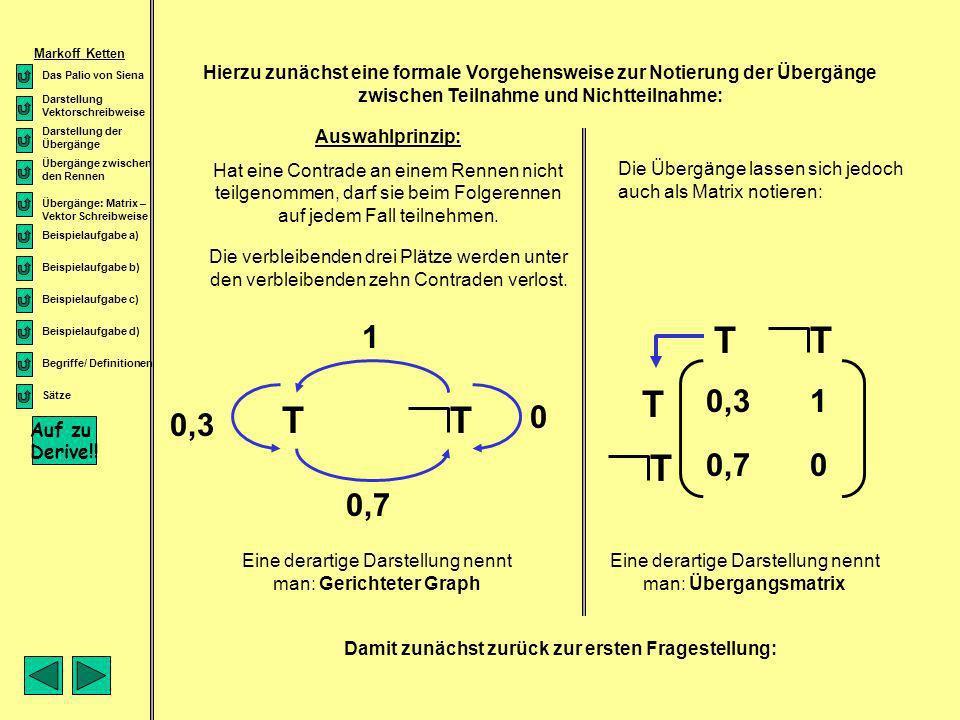 Sätze Wenn eine Grenzmatrix existiert, konvergiert die Folge der Zustandsvektoren zu einem eindeutig bestimmten Grenzvektor unabhängig von der Anfangsverteilung Die Grenzmatrix besteht aus identischen Spaltenvektoren, bzw.