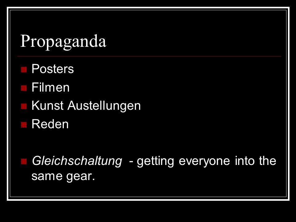 Propaganda Posters Filmen Kunst Austellungen Reden Gleichschaltung - getting everyone into the same gear.