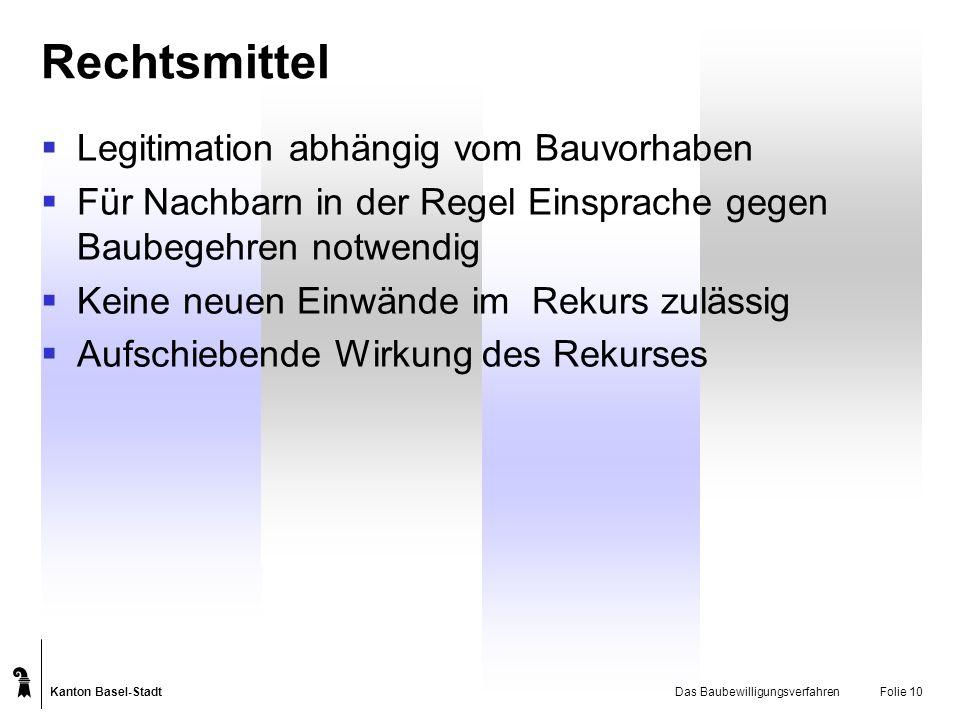 Kanton Basel-Stadt Das BaubewilligungsverfahrenFolie 10 Rechtsmittel Legitimation abhängig vom Bauvorhaben Für Nachbarn in der Regel Einsprache gegen